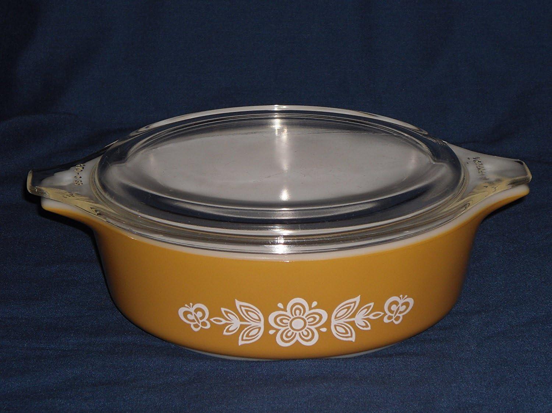 "PYREX ""Butterfly Gold 2"" Bake Serve Store Casserole Dish w/Lid - 1 Pint"