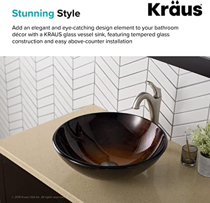 Nidda Bathroom Cloakroom Countertop Copper Glass Bowl Basin Sink with Mounted Ring Included