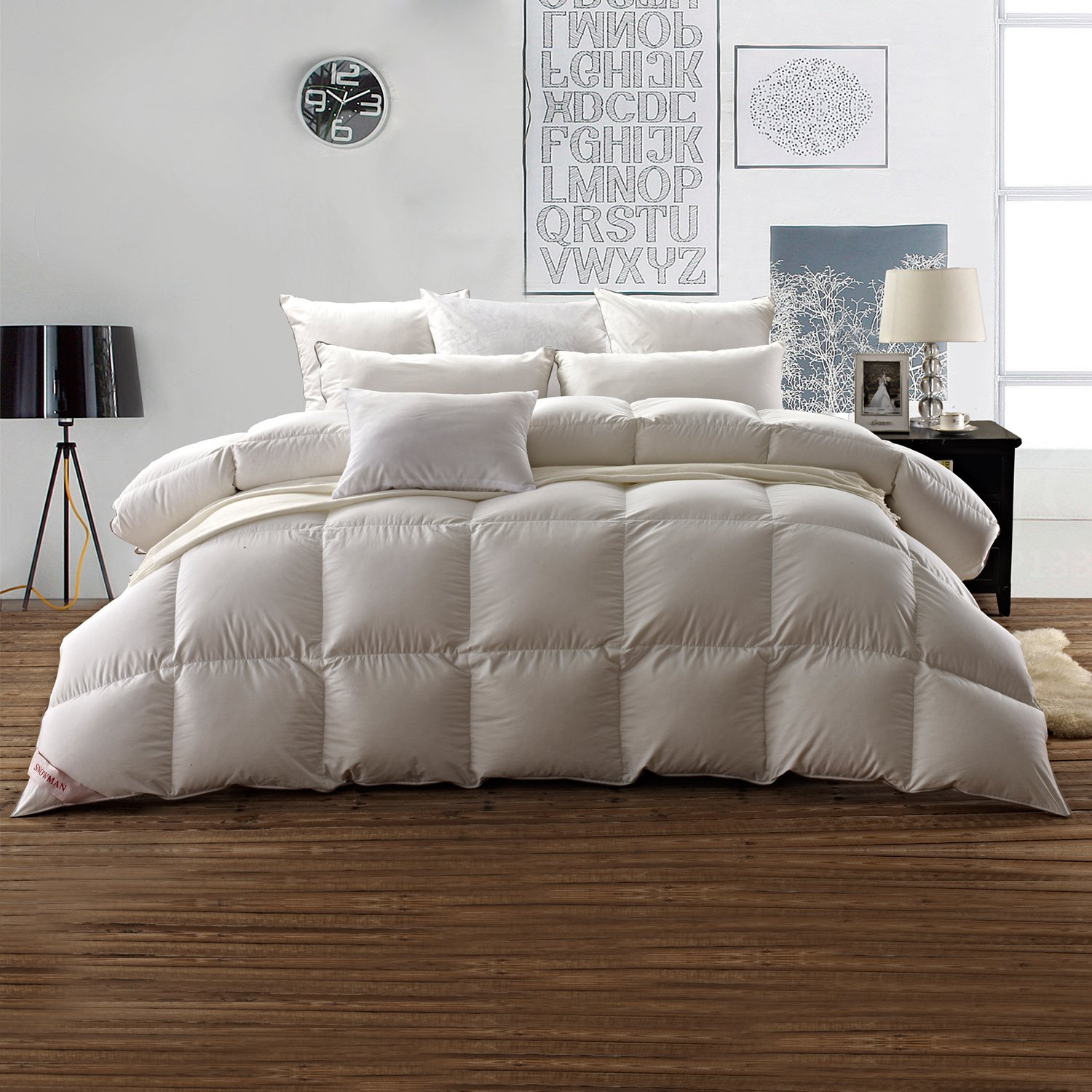 SNOWMAN White Goose Down Comforter Full/Queen Size