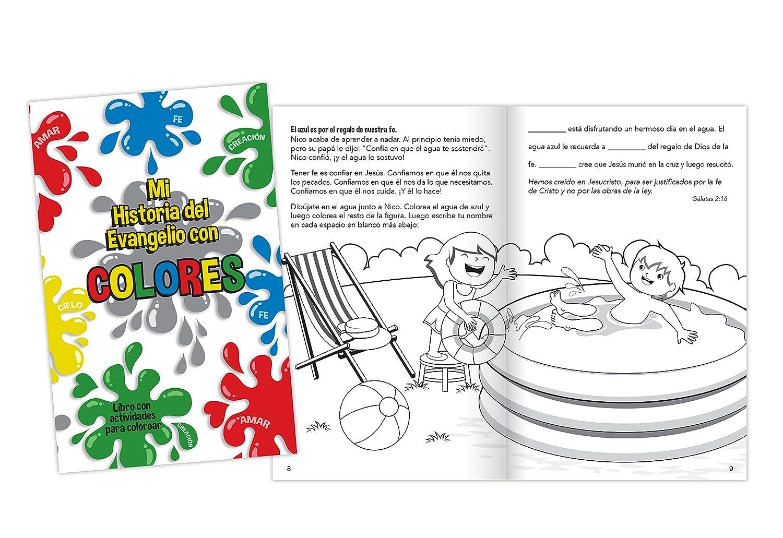 Amazon com mi historia del evangelio con colores 16 page childrens coloring book in spanish 4 pack toys games