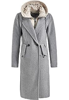 khujo Damen Mantel SANURA with Detachable Inner Jacket Langer Wollmantel  mit herausnehmbarem Kapuzen-Einsatz ffc2cb416f
