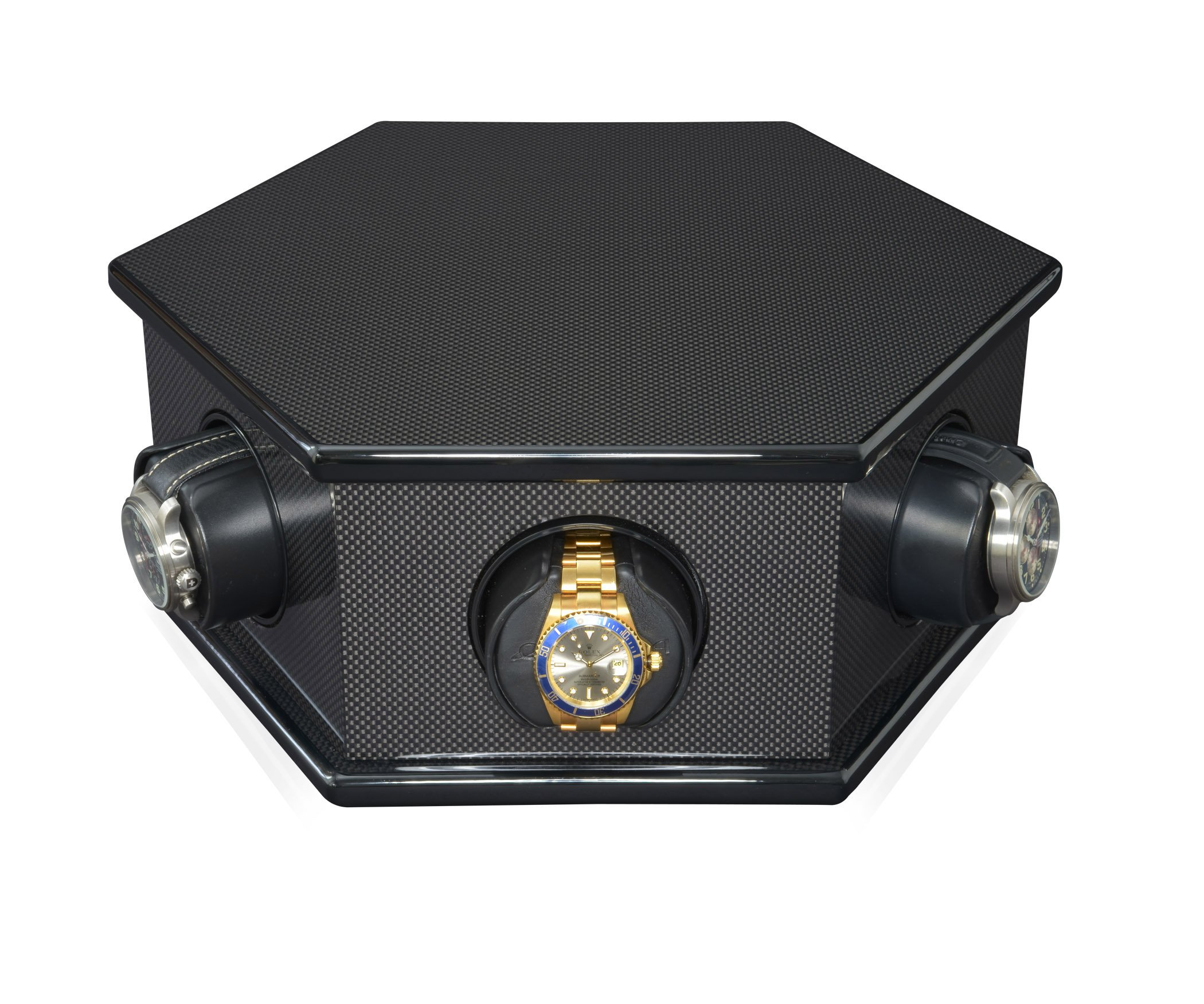 ORBITA CAROLO 6 Rotorwind Watch Winder in Black Carbon Fiber, Made in the USA