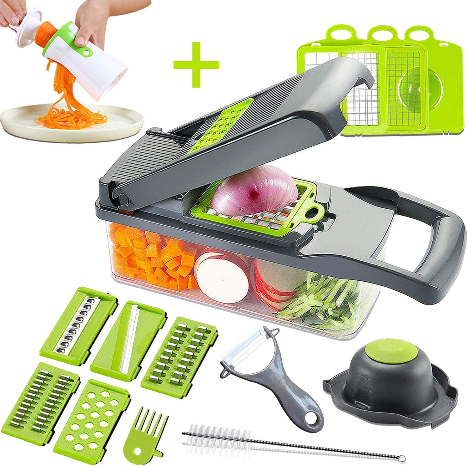 Mandoline Slicer Adjustable Cheese Slicer,Vegetable Chopper Hand Spiralizer,Potato Spiral Cutter Garlic Onion Dicer Fruit Peeler,Veggie Slicer,Pasta Zucchini Noodle Maker,Salad Shooter,Food Processor