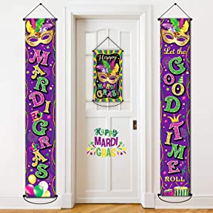 3 Pack Mardi Gras Banner New Orleans Party Decorations Mardi Gras Porch Hanging Purple Welcome Sign Garland for Home Masquerade Party Outdoor Indoor Decor