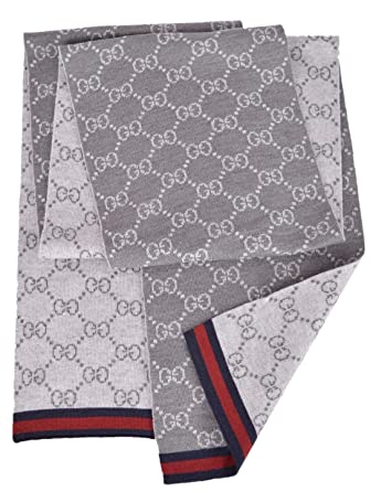 Gucci Men s Wool Grey Reversible GG Guccissima Blue Red Web Scarf Muffler   Amazon.co.uk  Clothing ed6d3a67a6