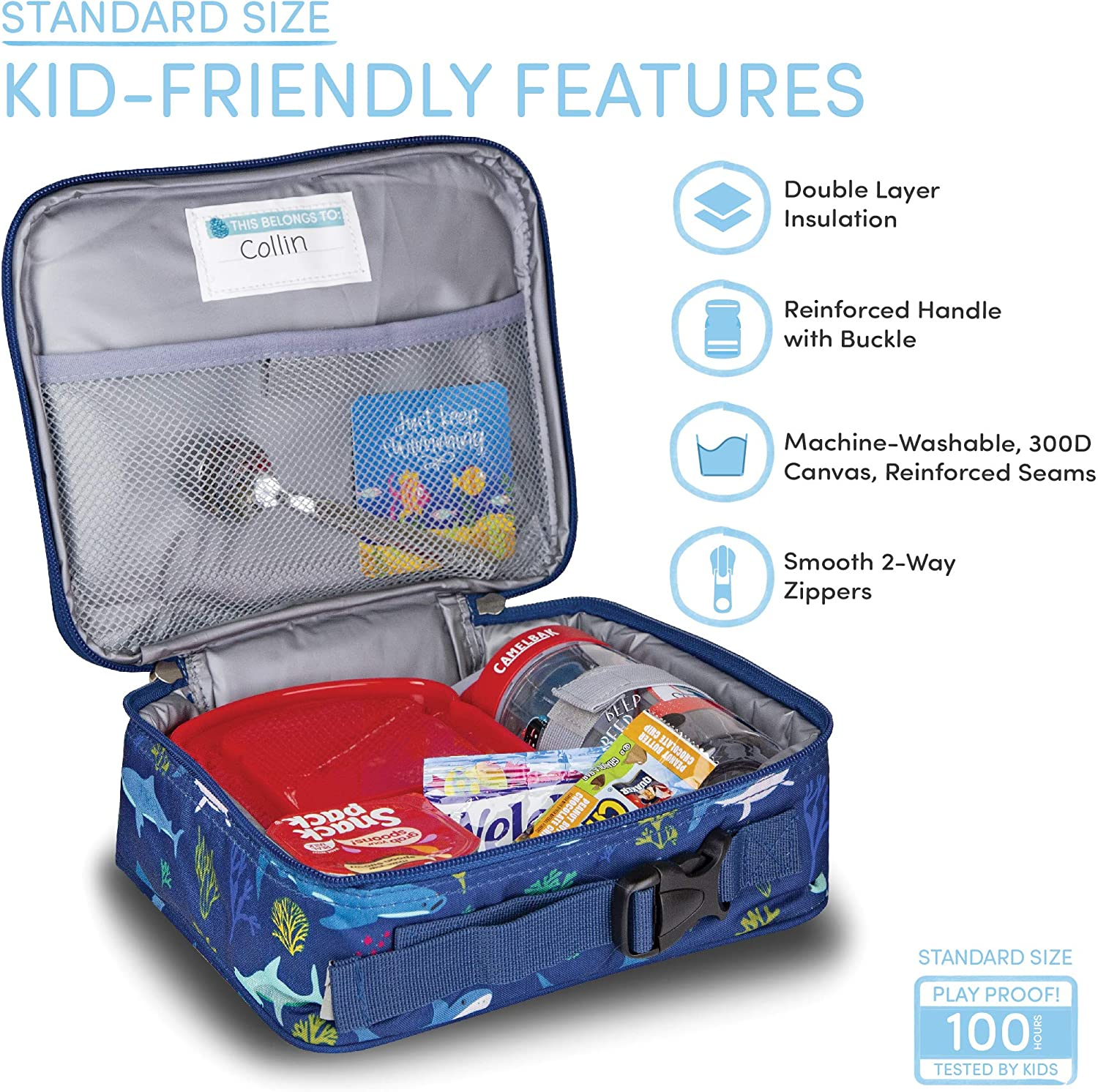 LONECONE Kids Insulated Lunch Box Cute Patterns for Boys and Girls Moroccan Horses Standard