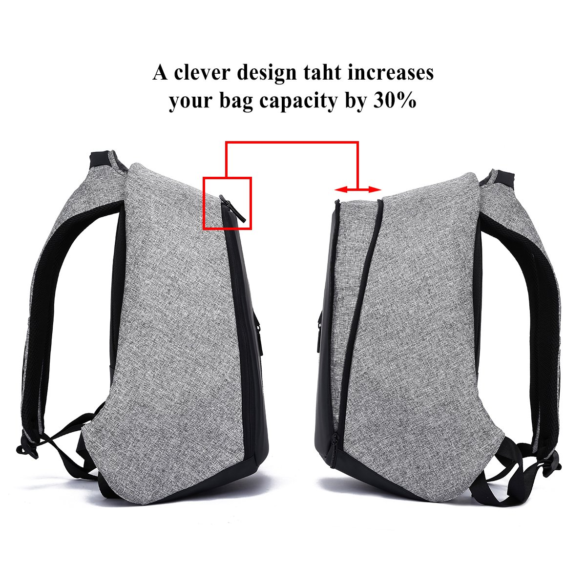 Anti-Theft Laptop Backpack Water Resistant College Backpack School Bag Business Bag with USB Charging Port for 15.6 Inch Laptop Notebook Travel Backpack (Black and Grey)