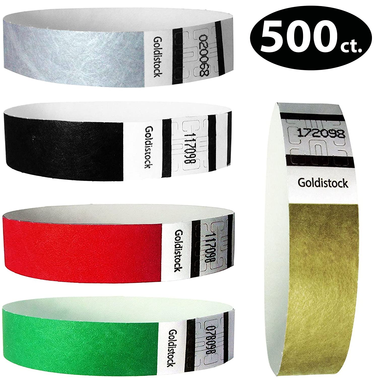 Goldistock 3/4 Tyvek Wristbands Formal 500 Count Variety Pack- 100 Each: Black, Metallic Gold & Silver, Evergreen, Bright Red