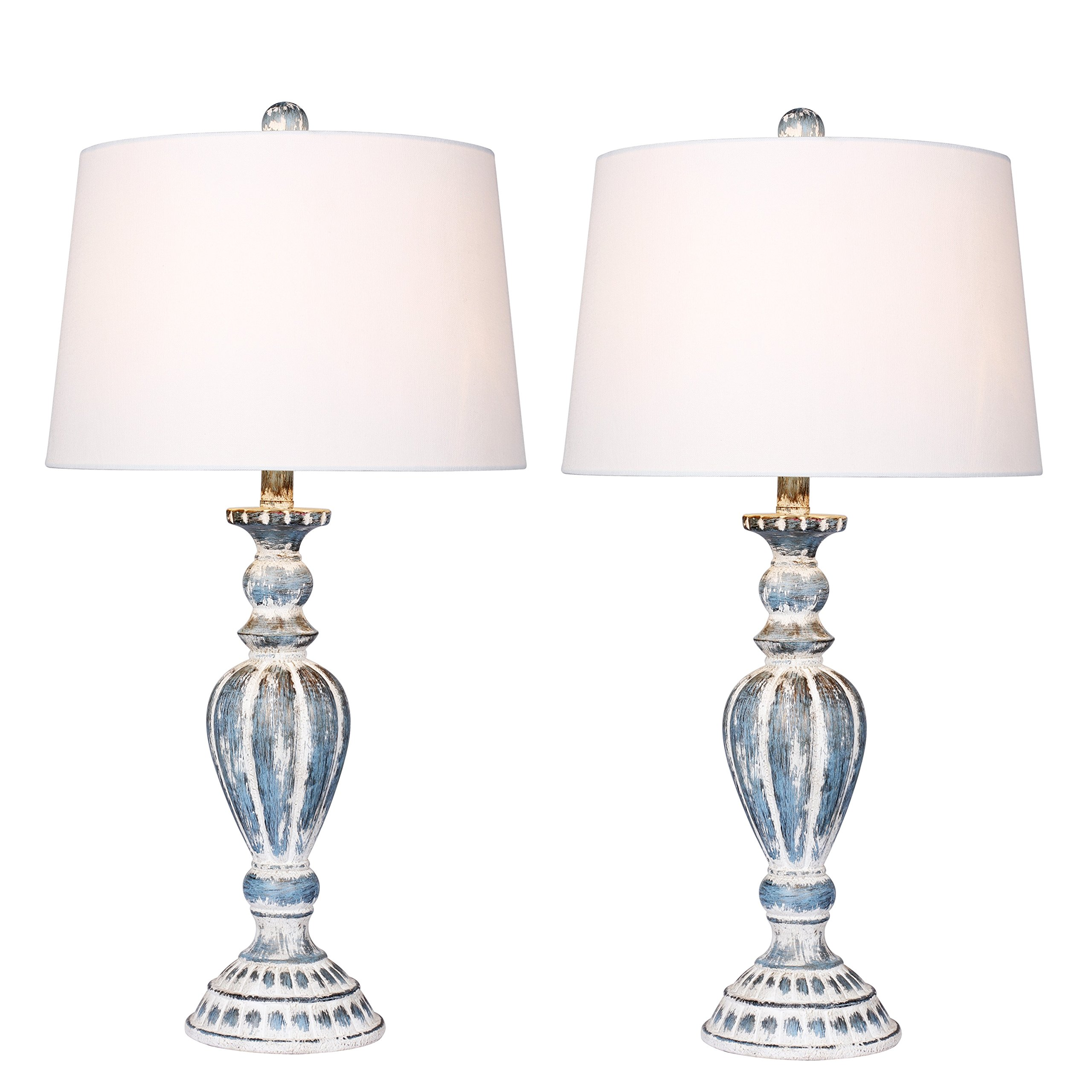 Cory Martin W-6244CAB-2PK Two without a Luxury Price Fangio Lighting's #6244CAB-2PK Distressed Candlestick Resin Table Lamps, 29.5'', Cottage Antique Blue, 2 Set