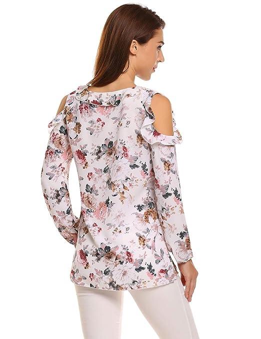 mymotto Camisa blusa Mujeres Ruffle fruncido O-cuello manga larga sin hombro Floral T-Shirt camiseta estampada de gasa de moda: Amazon.es: Ropa y accesorios