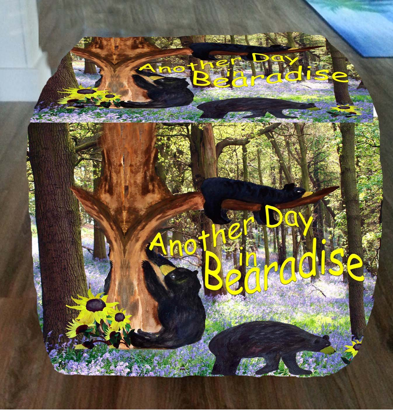Another Day in Bearadise Black Bear Ottoman From My Art