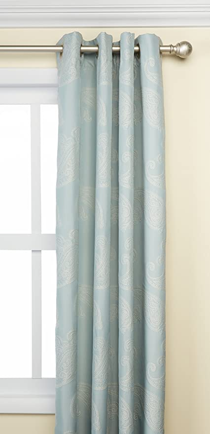 Madison Park Aqua Curtains for Living Room, Transitional Fabric Curtains for Bedroom, Emilia Solid