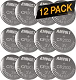 12 Pack AmVolt CR2032 Battery 220mAh 3 Volt Lithium Battery Coin Button Cell 2025 Expiry Date