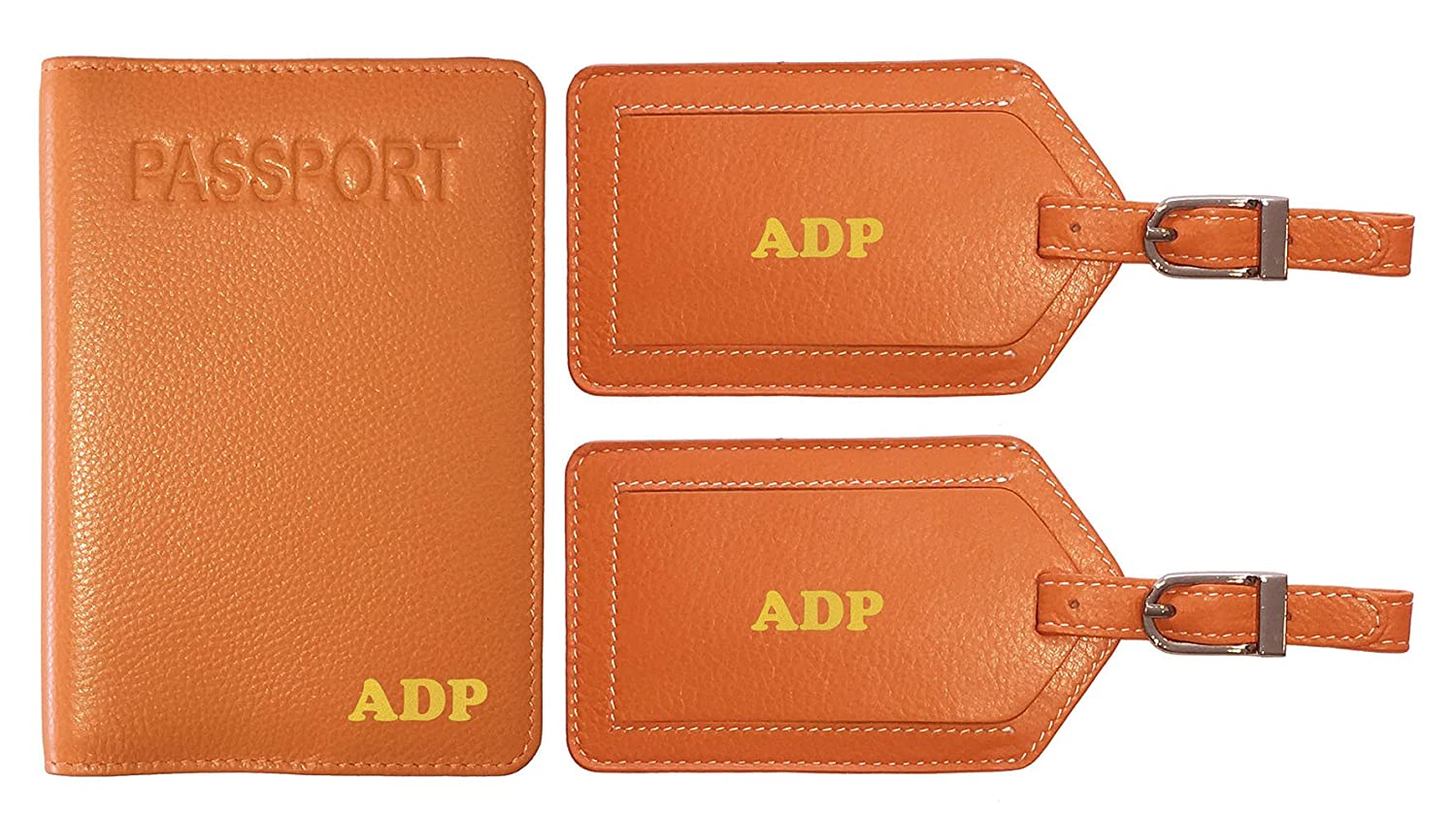 79396b8bad3a Personalized Monogrammed Bright Orange Leather RFID Passport Cover Holder  and 2 Luggage Tags