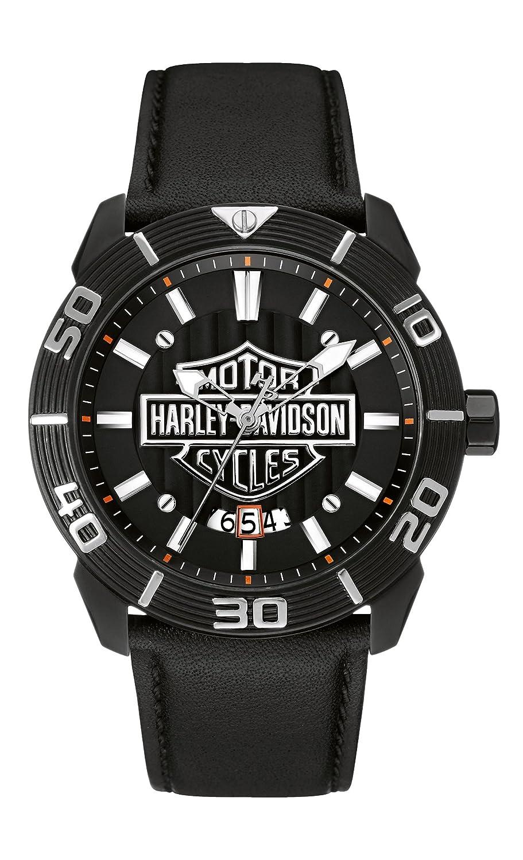 Harley Davidson Herren-Quarzuhr mit grauem Zifferblatt Analog-Anzeige und schwarzem Lederband 78b136