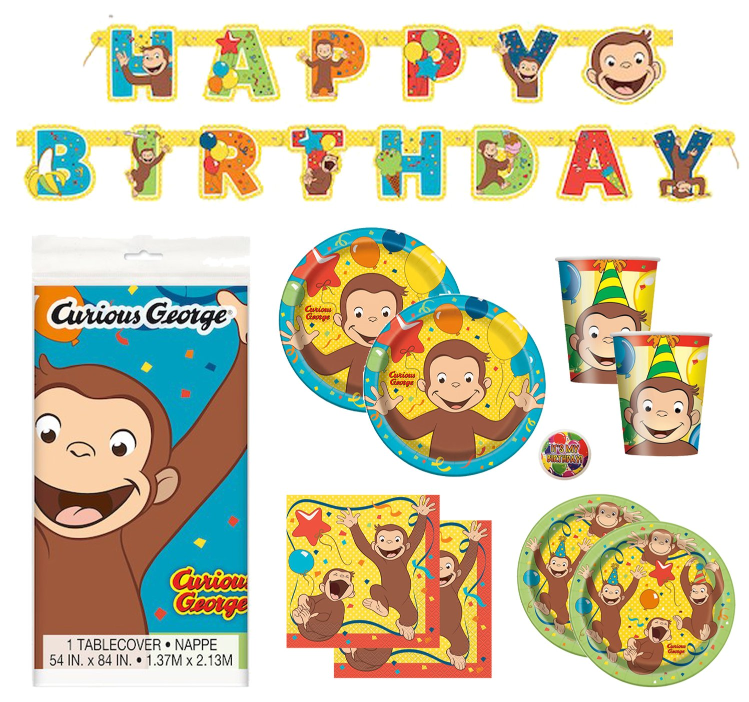 Deluxe Curious George Children's Birthday Party Supplies Pack with Decorations - Serves 16 by Curious George