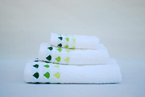 Juego de toallas DUCHA mod.diamante verde en fondo blanco, 100% algodón,