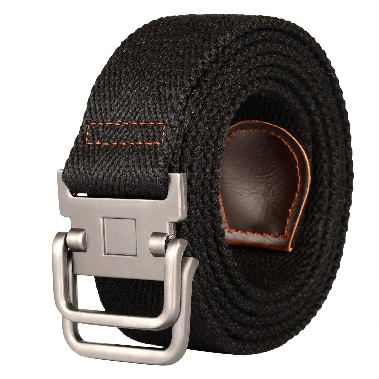Drizzte 59'' Long Plus Size Double D Ring Mens Canvas Web Belt Black