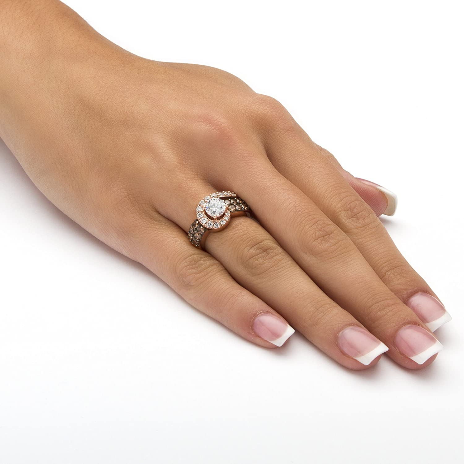 Amazon Round White And Chocolate Cubic Zirconia Rose Gold Plated Sterling Silver Swirl Ring Jewelry