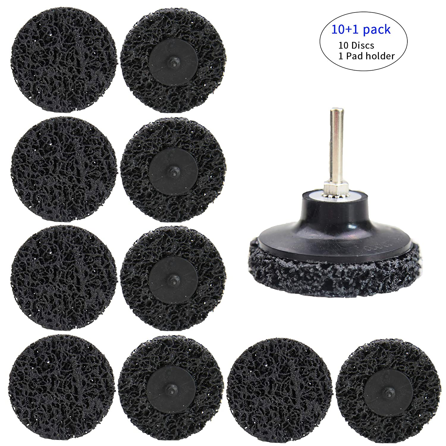 Disc Pad Holder 1 Pack. COSPOF 2 Inch Cleaning /& Stripping Roloc Quick Change Sanding Disc,Remove Paint,Rust and Oxidation,Type-R Connection,Roloc Disc 10 Pack