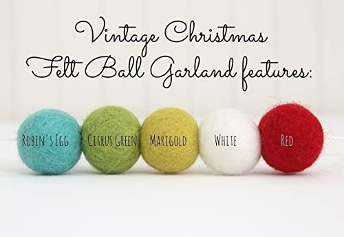 Marigold 2.5 cm balls. Green White Aqua Pom Pom Garland Vintage Christmas Handmade Wool Felt Ball Garland by Sheep Farm Felt- Red