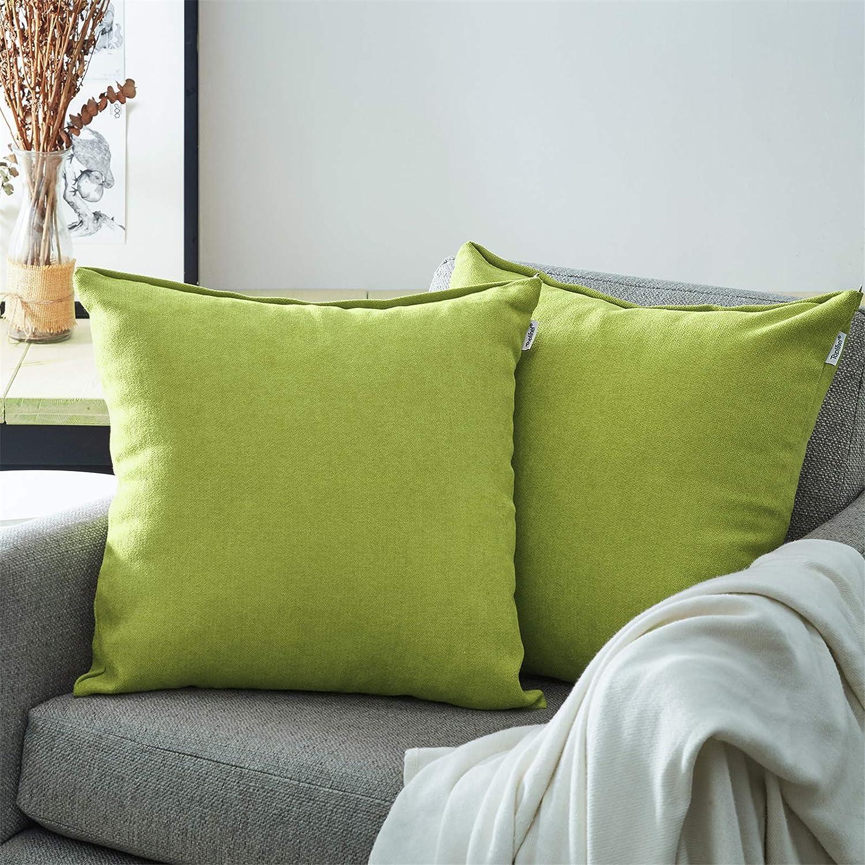 Topfinel Juego 2 Fundas Cojines Sofas de Algodón Lino Chenilla Duradero Almohadas Decorativa de Color sólido para Sala de Estar, sofás, Camas, sillas 50x50cm Verde Mostaza