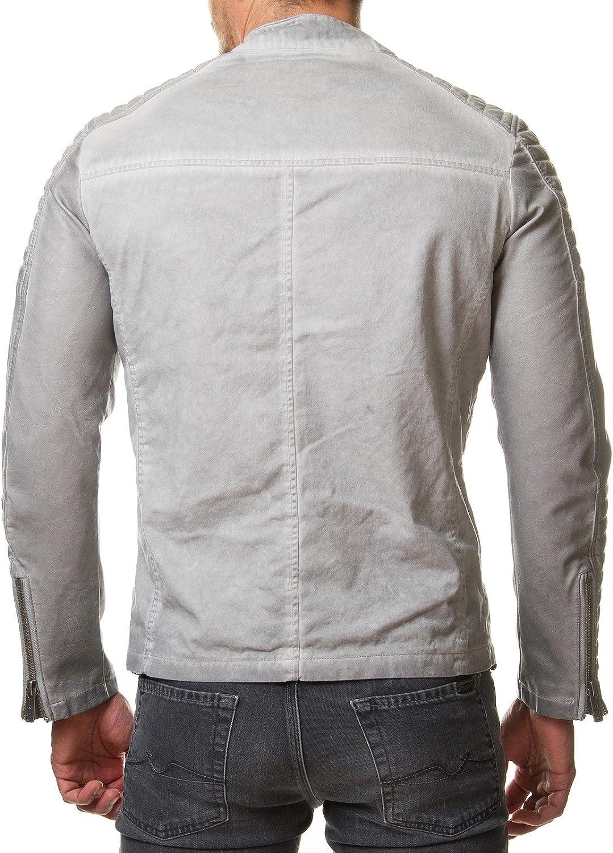 Redbridge Veste de moto en cuir synth/étique beige//grise et matelass/ée M6011