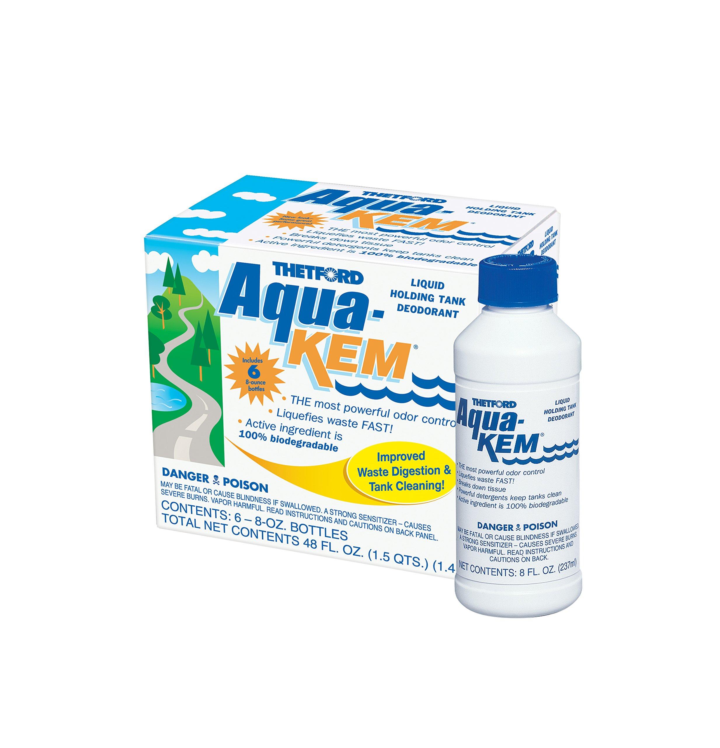 Thetford 10801 Aqua-KEM Original-Holding Tank Treatment-Deodorizer-Waste Digester-Detergent - 8 Ounce Bottles 6 Pack by Thetford