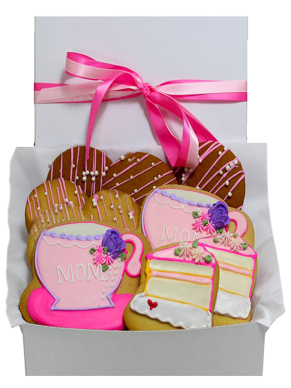 Happy Mothers Day Cookie Gift Basket Hand-Decorated Cookies, Gourmet Unique Food Gifts, Mothers Day Gifts For Mom, Mother In Law, Stepmother, Kosher, 10 Count, Prime Delivery