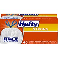 Hefty Strong Tall Kitchen Trash Bags, White, Unscented, 13 Gallon, 45 Count