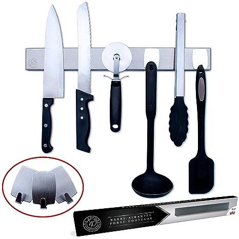 Barra Magnética para Cuchillos de 40 cm - Incluye 3 Ganchos ...