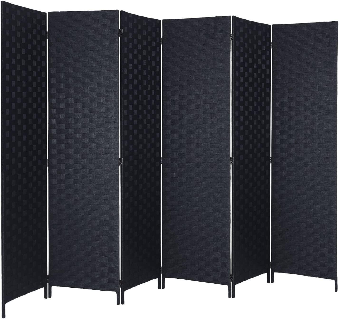 Amazon Com Rhf 6 Ft Tall Room Dividers Double Side Woven Fiber Room Divider Better Privacy Screen Folding Partition Wall Divider Space Seperate Indoor Decorative 6 Panel Screen Freestanding Black 6 Panel Furniture Decor