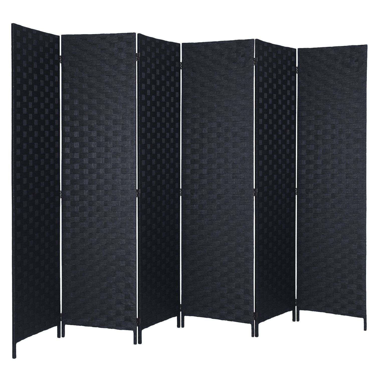 RHF 6 ft Tall (Extra Wide) Handmade Room Divider&Privacy Screen, Room Dividers and Folding Privacy Screens, Partition Wall & Wall Divider, Double-weaved, Provides Better Privacy- Black - 6 Panels
