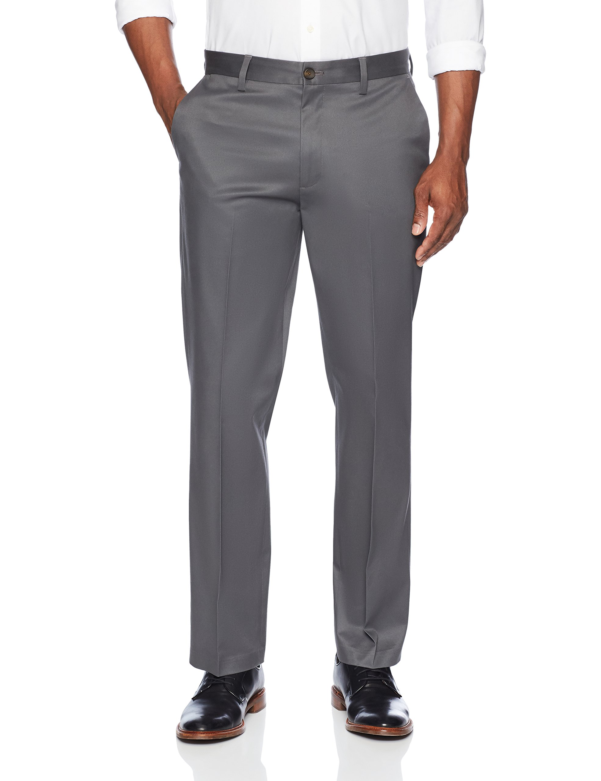 Buttoned Down Men's Relaxed Fit Flat Front Stretch Non-Iron Dress Chino Pant, Dark Grey, 33W x 32L