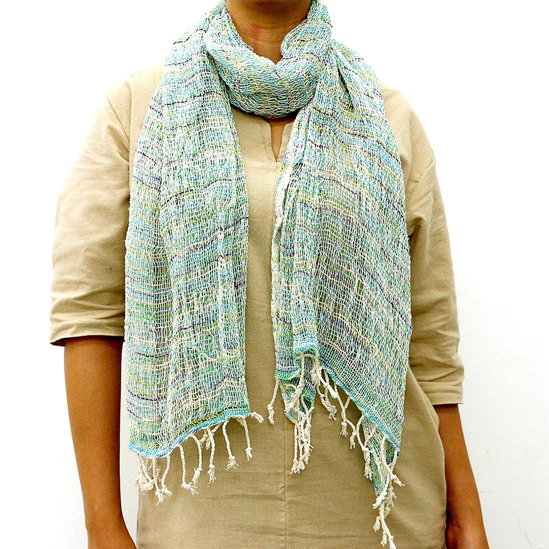 Taruron Woven Net Cotton Plain or Multi Colors Summer fashionable Scarf (Beige Blue)