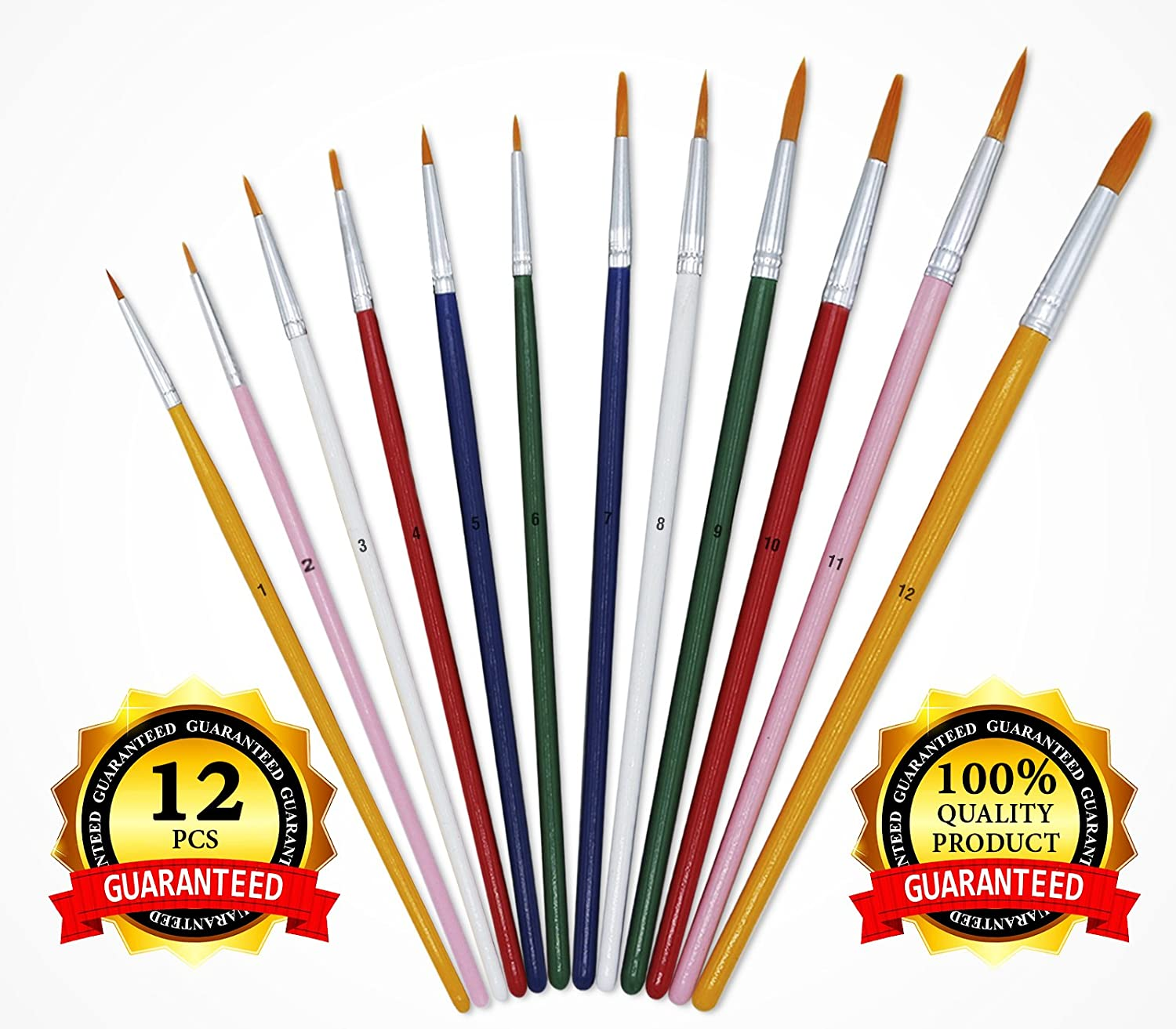 12 pcs Artist Paint Brushes Set, Paint Brush Set Round Painting Tip Nylon Hair, Art Painting, Face, Models - Artist Brushes for Acrylic Watercolor Oil Painting - Great for Artists, Kids and Students USABestSolution 4336963126