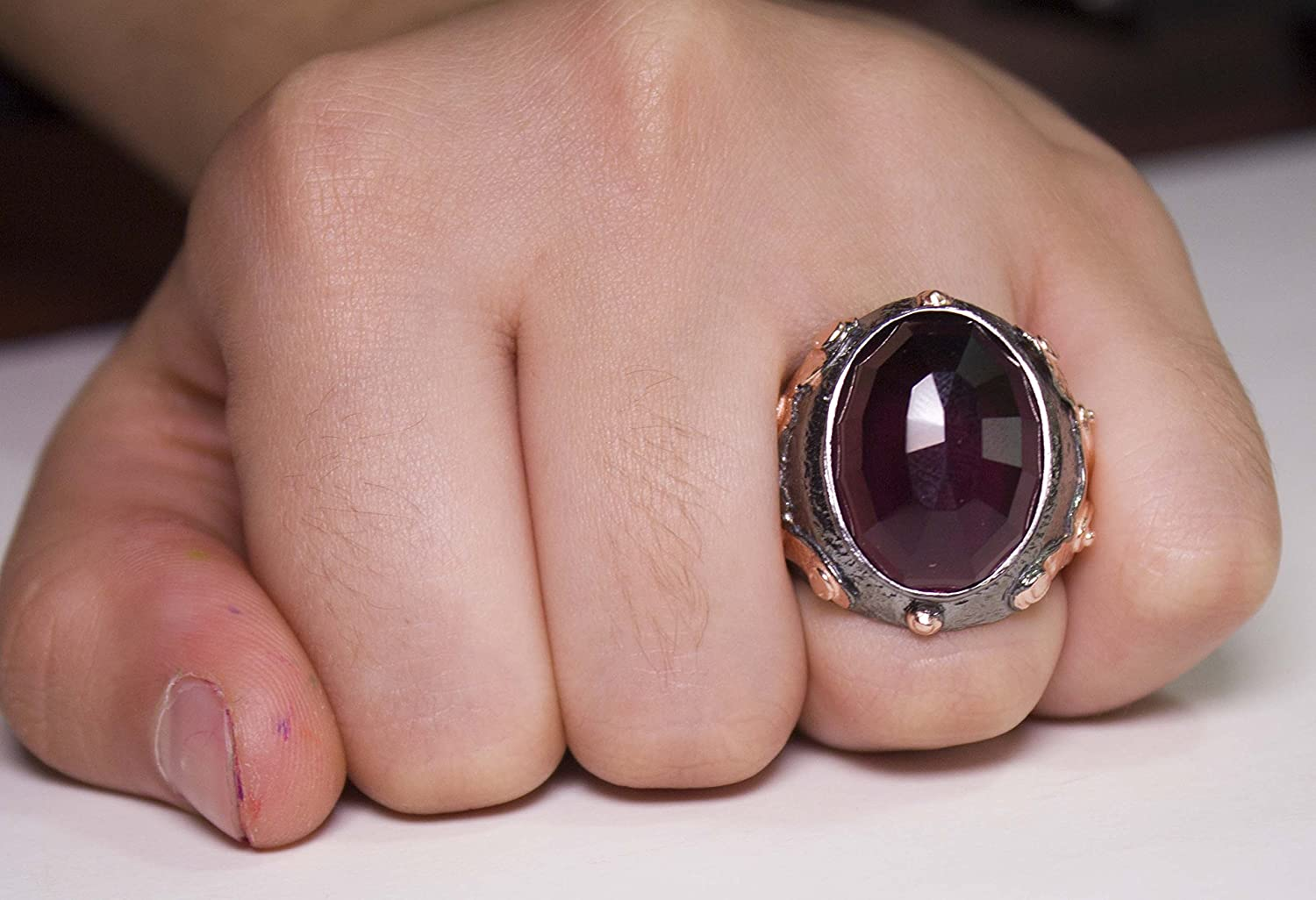 Falcon Jewelry Sterling Silver Byzantium Men Ring, created-amethyst ...