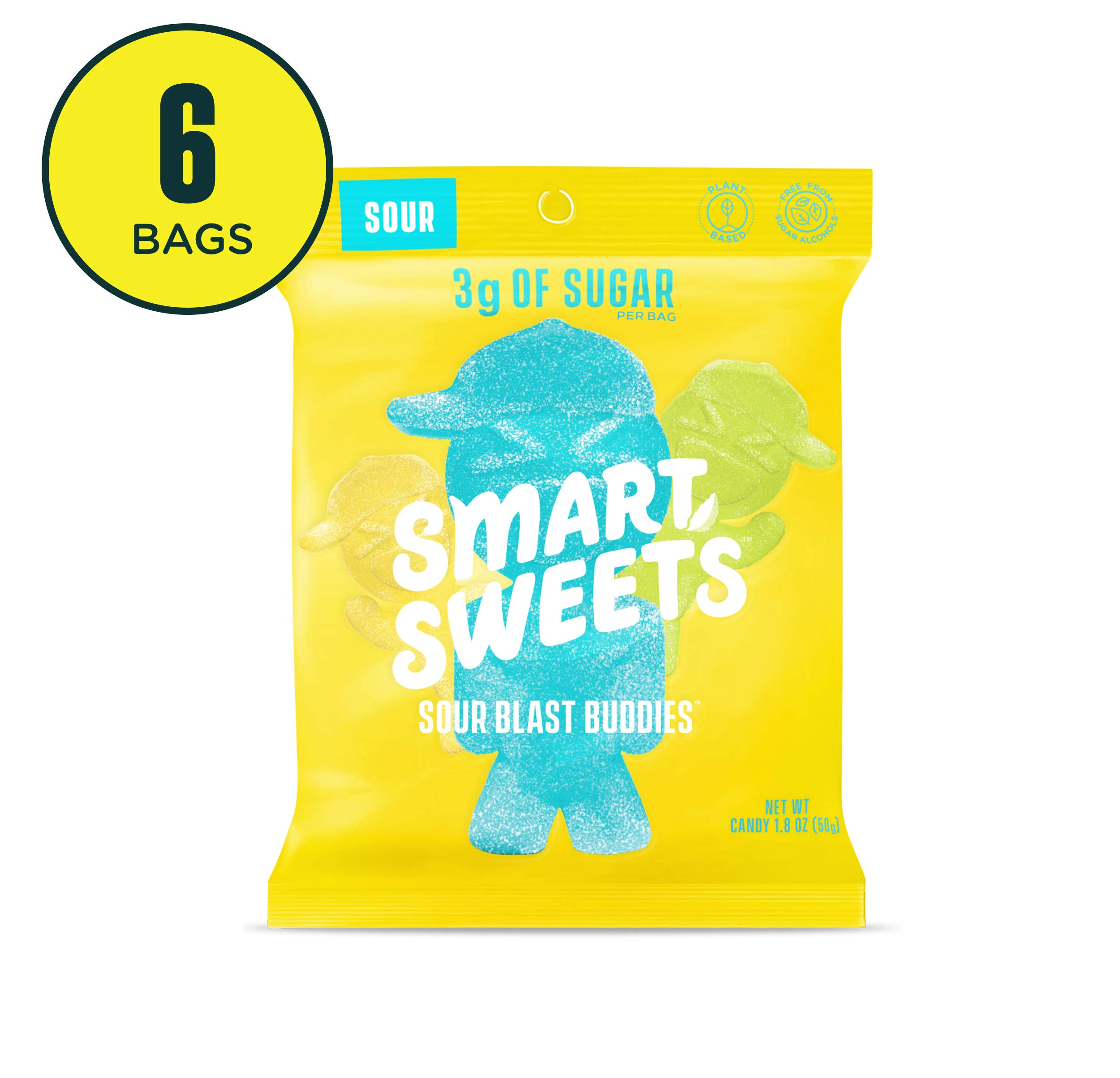 SmartSweets Sour Blast Buddies 1.8 oz bags (box of 6), Candy with Low-Sugar (3g) & Low Calorie (80)- Free of Sugar Alcohols & No Artificial Sweeteners, Sweetened with Stevia