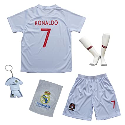 super popular 994b8 555ee KID BOX 2018 Portugal Cristiano Ronaldo #7 Away White Kids Soccer Football  Jersey Gift Set Youth Sizes