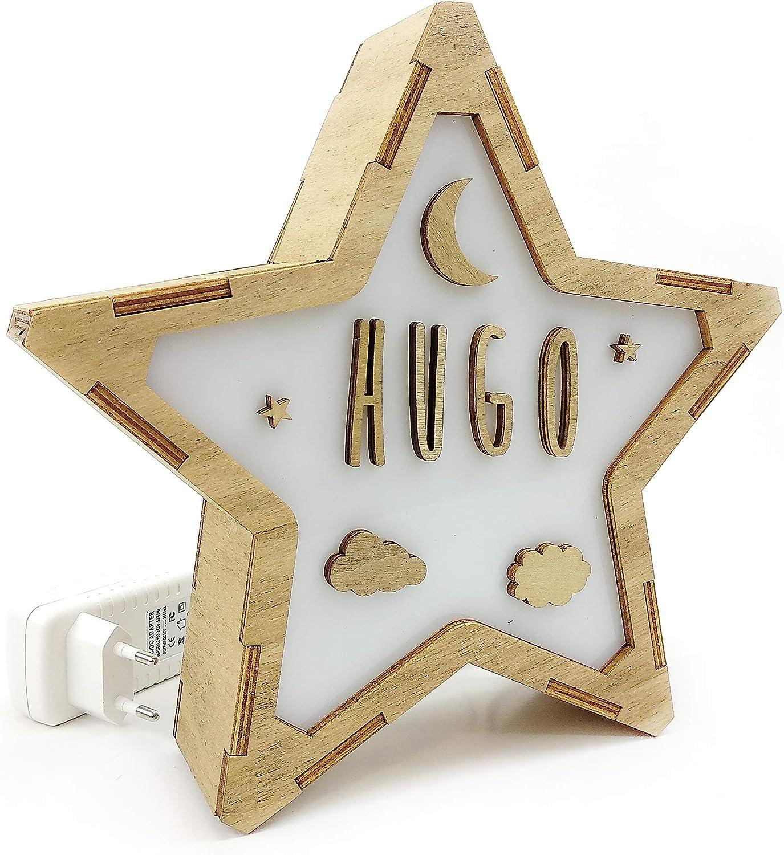Lámpara LED de Mesa Noche Personalizada con Nombre. Estrella de Madera Luminosa. Varios diseños. Clase de eficiencia energética A. Luna