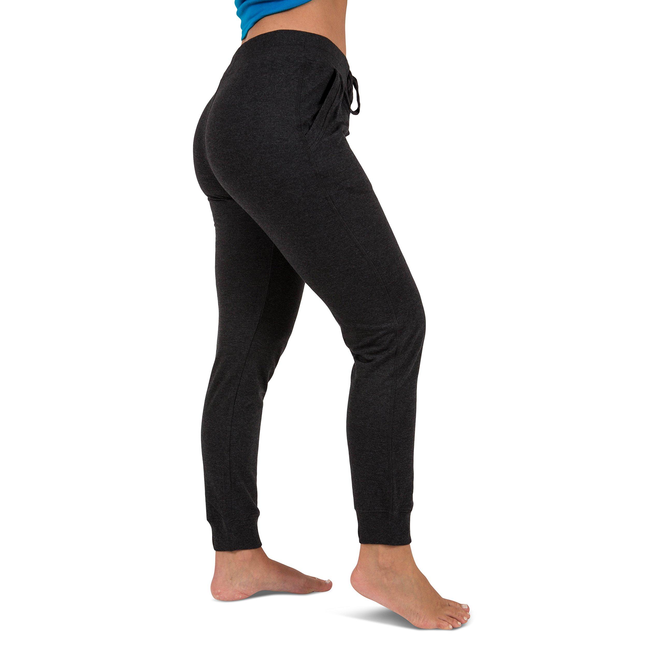 Sexy Basics Women's 2 Pack Yoga Activewear Jogger Capri Cropped Sweat Lounge Pants (2 Pack- Navy/Charcoal, Large) by Sexy Basics (Image #2)