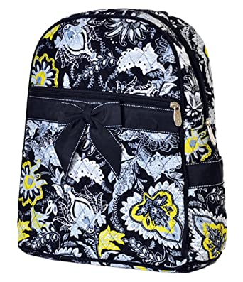 ac907ac173 Lar Lar Quilted Floral Large Backpack (Black White Yellow)