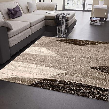 VIMODA Moderne Salon Tapis Géométrique Motif Moucheté Marron Beige - Öko  Tex Certifié - Beige, 80 x 150cm