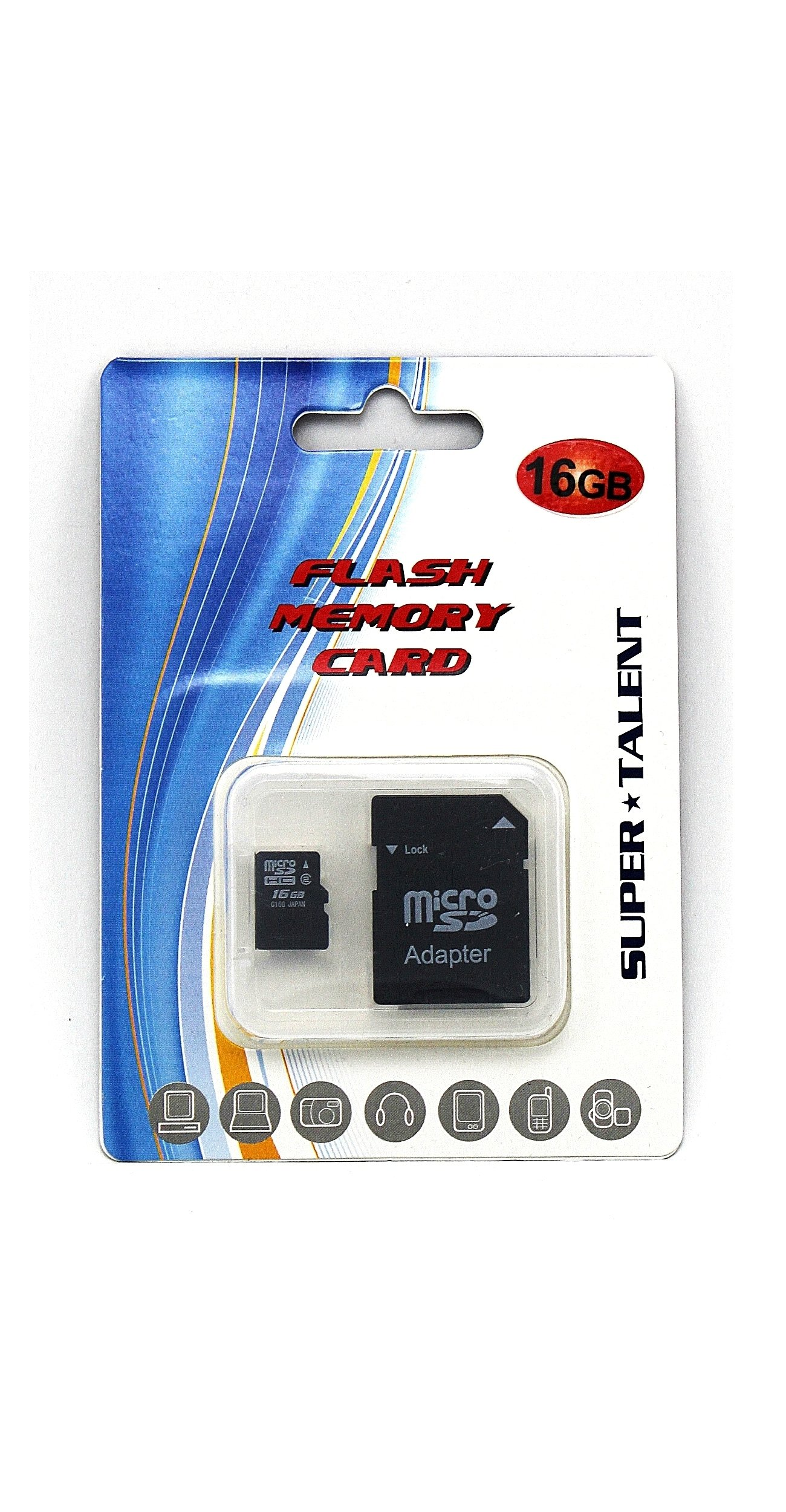 Super Talent 16 GB MicroSDHC Flash Memory with SD Adapter MSD16GST/R