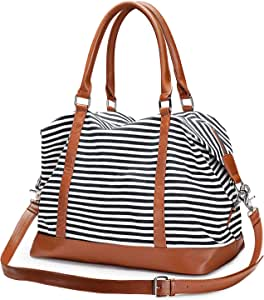 S-ZONE Women Ladies Canvas Weekender Bag Overnight Carry-on Duffel Tote Bag with PU Leather Strap (Black)
