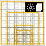 "Magicfly Acrylic Quilting Ruler (4.5""x4.5"", 6""x6"", 9.5""x9.5"", 12.5""x12.5"") Set of 4 Transparent Quilter Square Ruler with 48 Non-Slip Rings & 20Pcs Transparent Sewing Clips, Double-Colored Grid Lines"