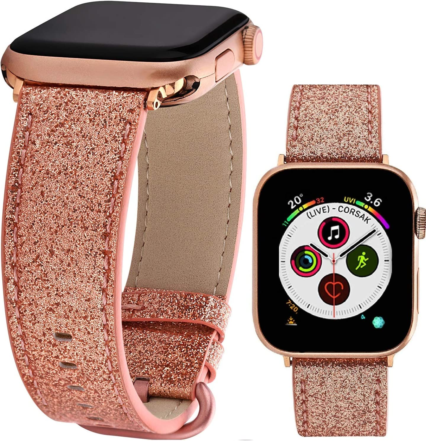 Greaciary Glitter Leather Band Compatible with Apple Watch Band,Shiny Bling Elegant Genuine Leather Strap Compatible for iWatch Series 5/4/3/2/1,Sport Edition Women Girl (Light Rose Gold, 42mm/44mm)