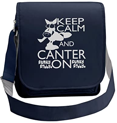 f47b527dbac Funky Filly Silver Horse Keep Calm and Canter On Ladies Cross Shoulder Bag  Navy Blue size