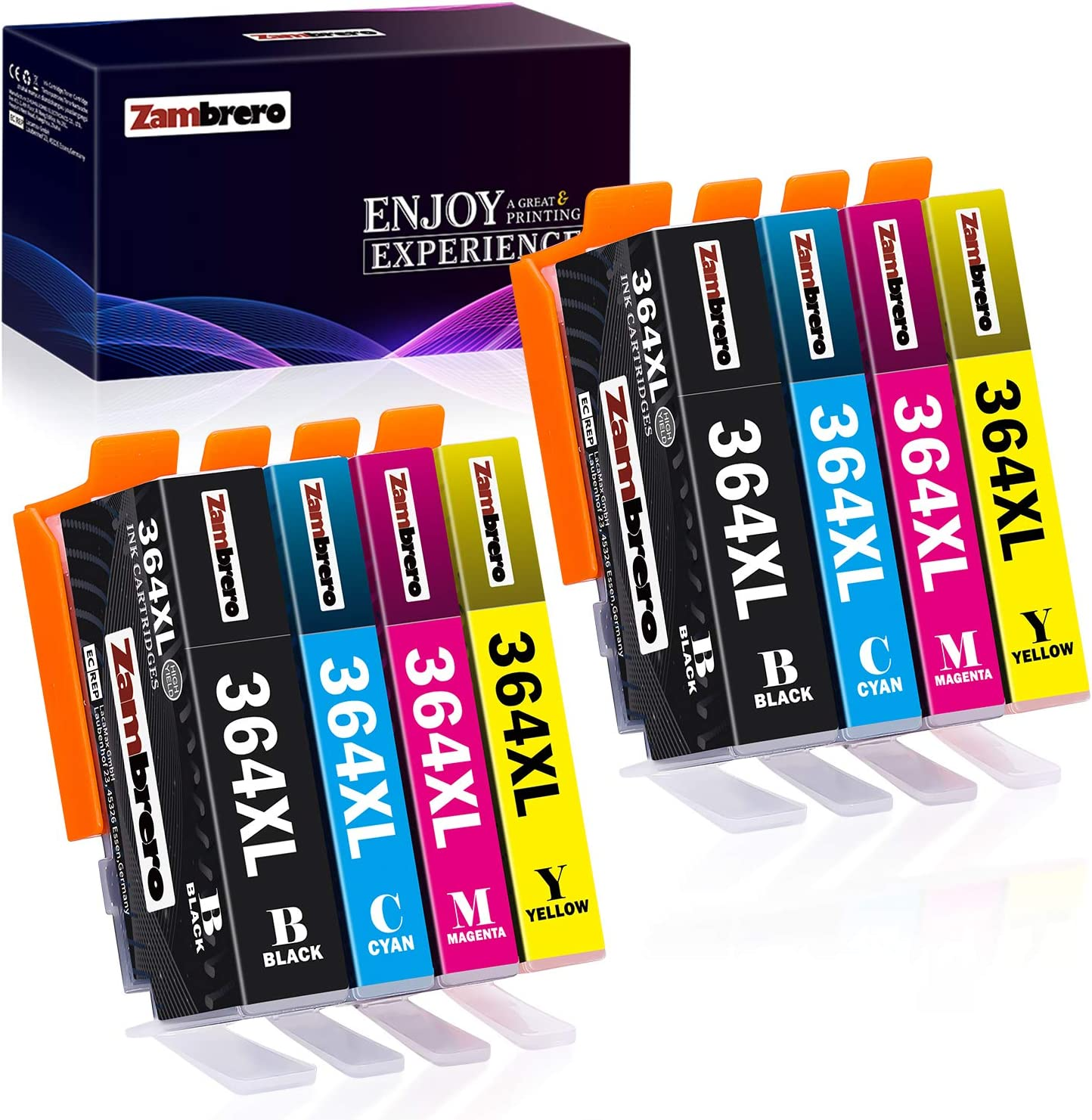 Zambrero 364XL Reemplazo para HP 364 XL Cartuchos de tinta Compatibles con HP Photosmart 5520 5510 6520 7520 5522 6510 7510, HP Officejet 4620, HP Deskjet 3520 3070A (8 Pack): Amazon.es: Informática