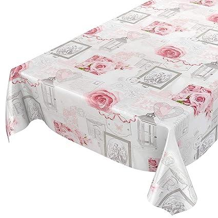 Mantel Encerado Limpiar. Hule Encerado Mantel Rosas Corazones Romantik Antiguo Gris Tamaño a Elegir,